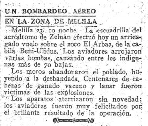 Un bombardeo aéreo en la zona de Melilla