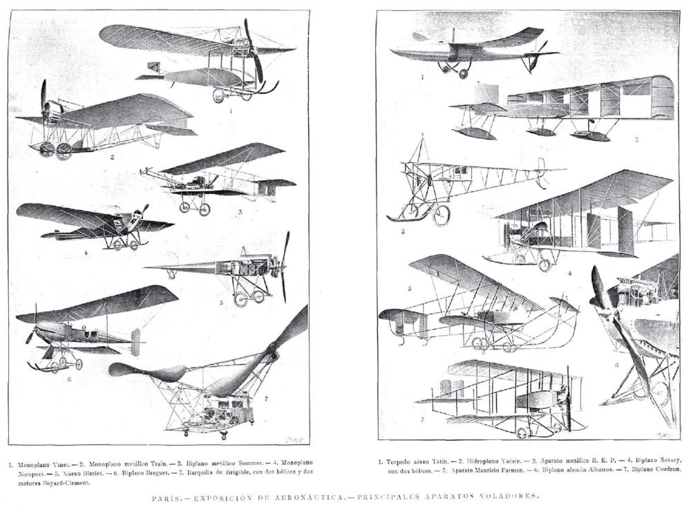 Principales aparatos voladores de la exposición de aeronáutica de París