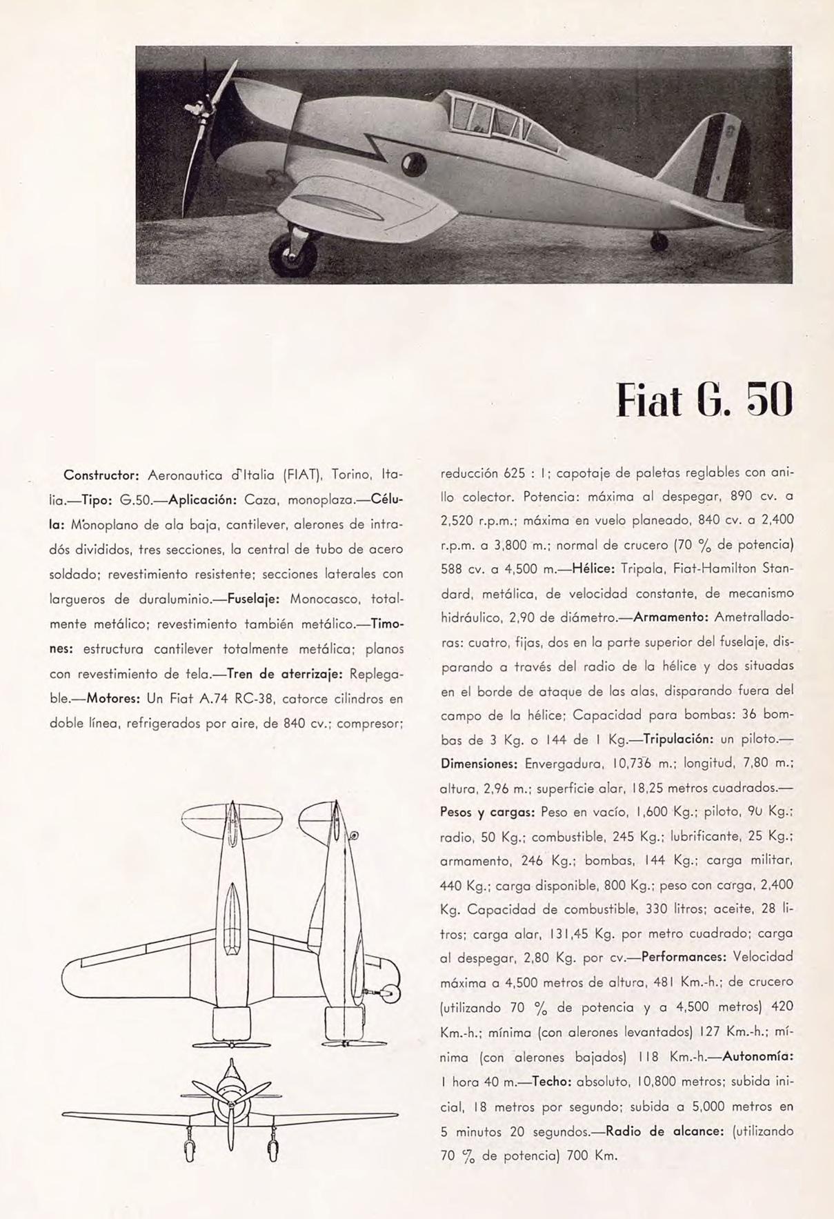 Fiat G.50: primer caza monoplano de la Regia Aeronautica