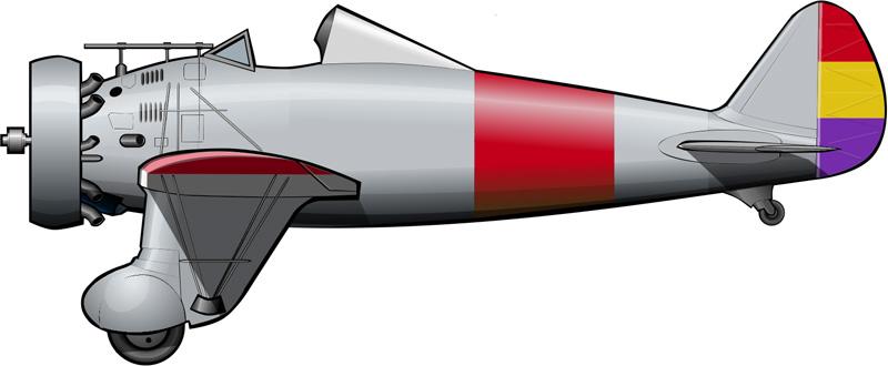 El único ejemplar de P-26 existente en España, pintado con los colores republicanos algunas semanas después de comenzar la guerra.