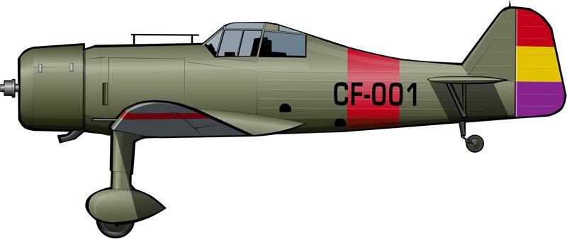 Fokker D.XXI en el SAF-15, La Rabassa (Alicante), a comienzos de 1939.