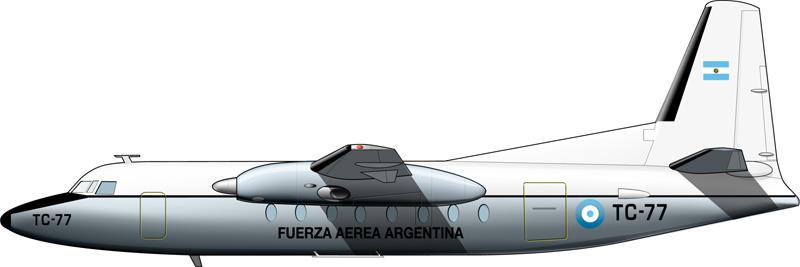 Un Fokker F.27 de LADE, con identificación únicamente de la Fuerza Aérea.