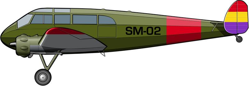 Un General Aircraft Monospar ST-25 Universal sanitario de aviación republicana, como indica la letra S de su indicativo.