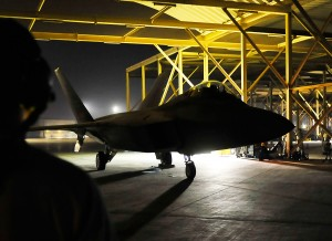 An F-22A Raptor prepares for strike operations against ISIL targets in Syria