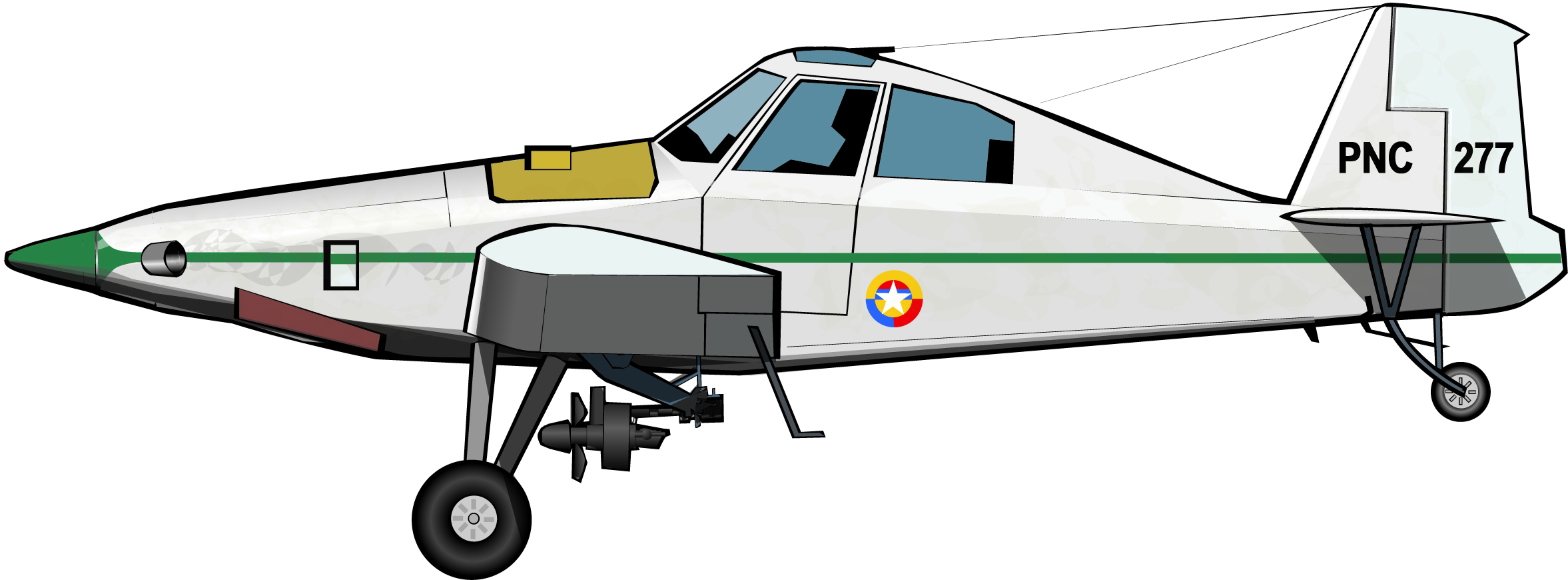 El avión aspersor de la Policía Nacional de Colombia