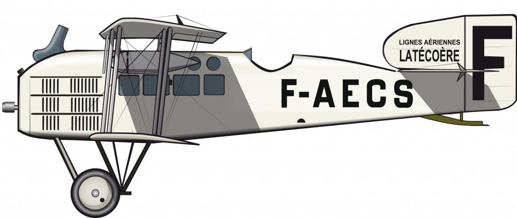 La ruta de Latécoère utiliza bombarderos Breguet 14 reconvertidos
