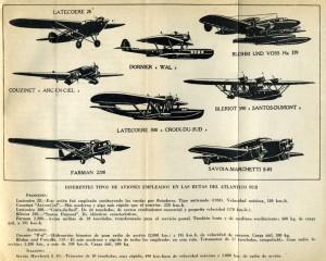 Diferentes tipos de aviones empleados en las rutas del Atlántico Sur