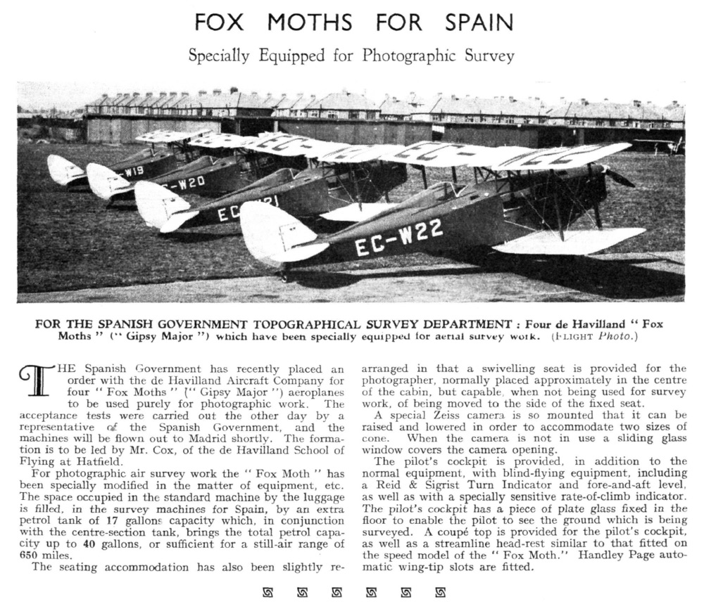 Fox Moths for Spain – Specially Equipped for Photographic Survey