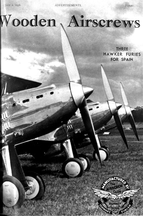 Wooden Airscrews – Three Hawker Furies for Spain