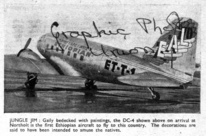 The first Ethiopian aircraft to fly UK