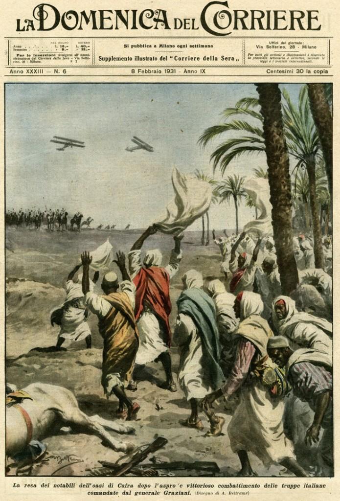 Los notables del oasis de Cufra reciben a las tropas de Graziani