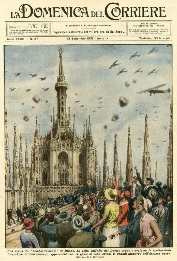 """Una escena del """"bombardeo"""" de Milán"""