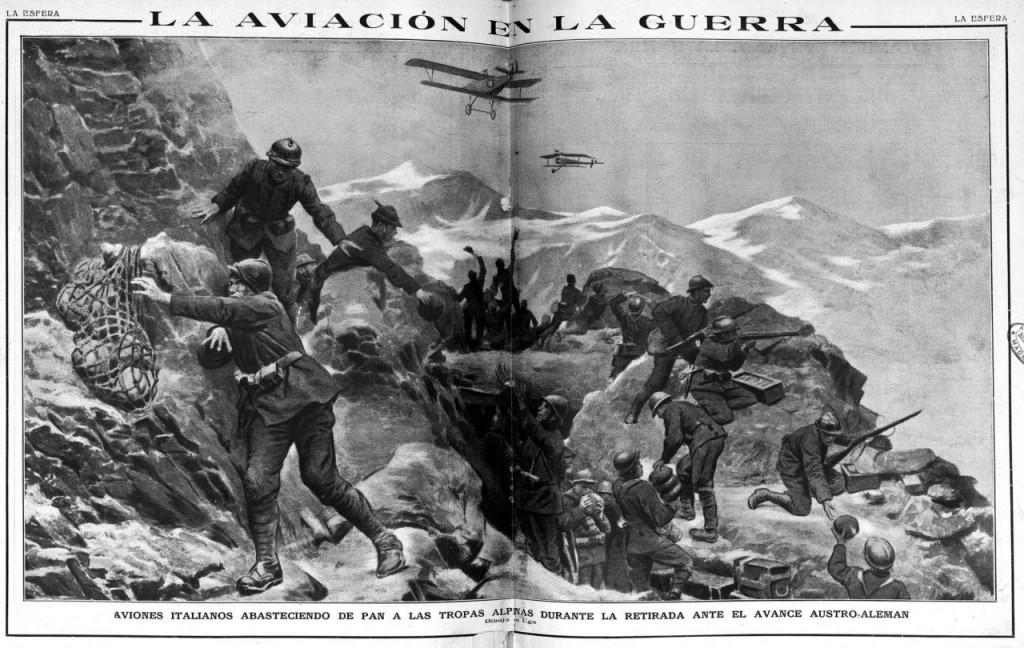 Aviones italianos abasteciendo de pan a las tropas alpinas