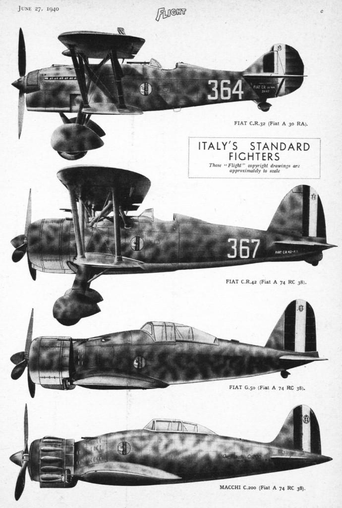 Cazas italianos en 1940
