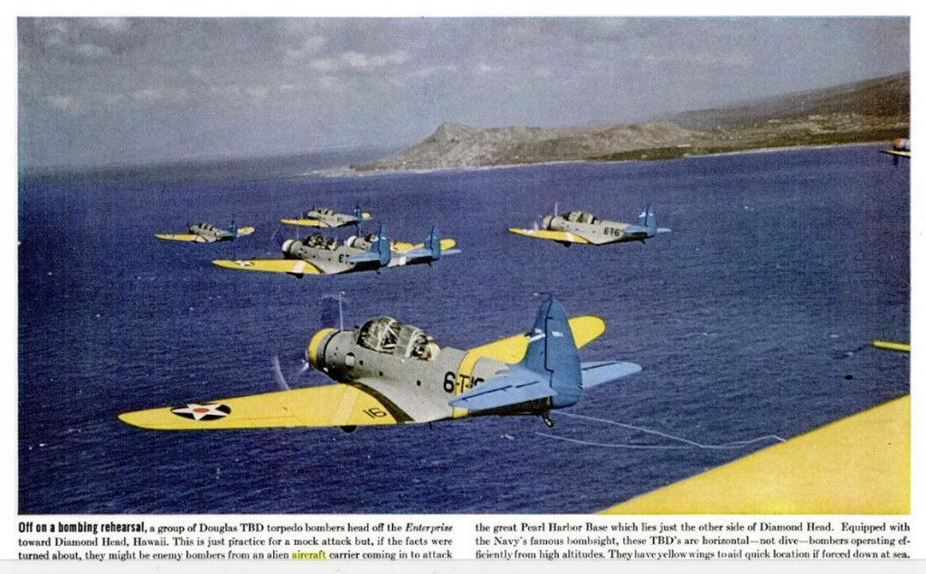 A group of Douglas TBD torpedo bombers in Hawaii