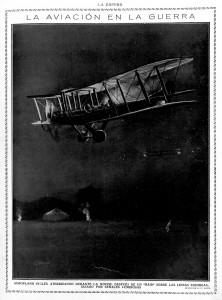 Aeroplano inglés aterrizando de noche