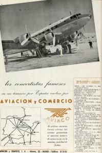 Los concertistas famosos vuelan por Aviaco