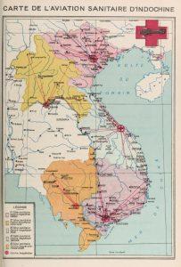 Mapa de la aviación sanitaria en Indochina, 1931
