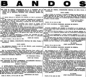 Tres bandos de declaración del Estado de Guerra, julio de 1936