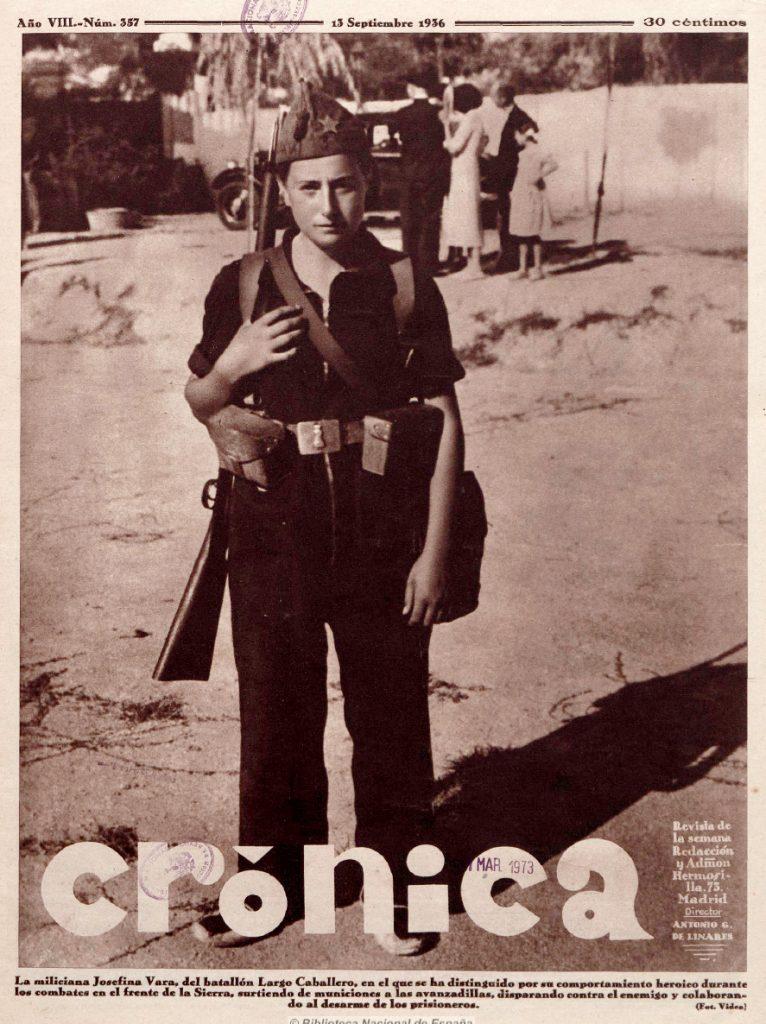 La miliciana Josefina Vara, del batallón Largo Caballero