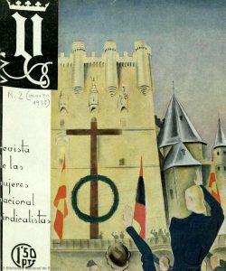 Castillo en Castilla, con símbolos falangistas