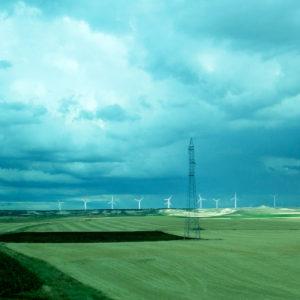 Un campo de aerogeneradores