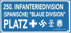 La nueva placa de la Plaza de la División Azul (Alicante)