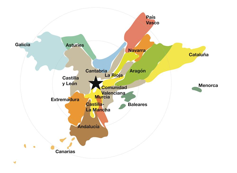 La verdadera forma de España: mapa de distancia mental a Madrid