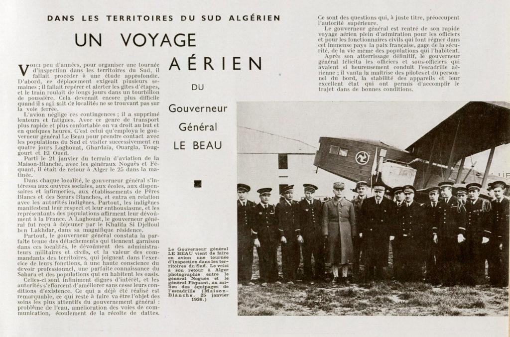 El Gobernador General Le Beau sobrevuela la paz francesa en Argelia