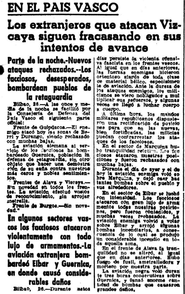 La prensa sobre el bombardeo de Guernica